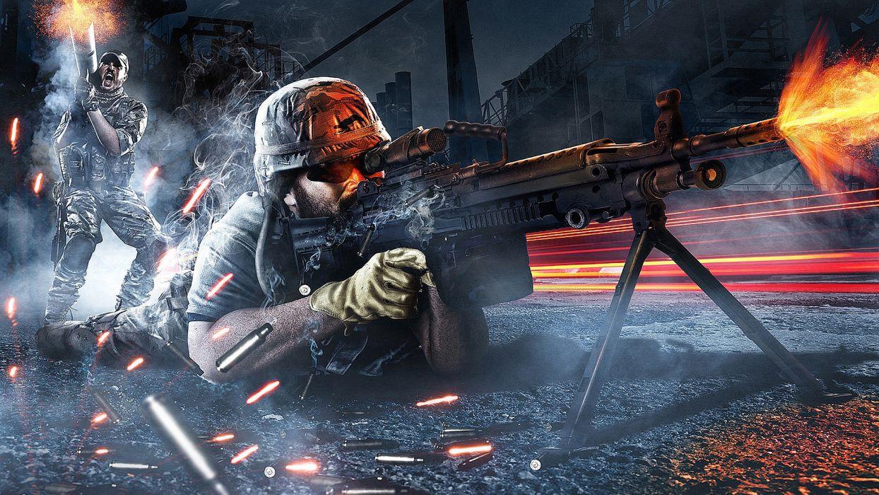 Battlefield warrior soldier military explosion fire flame weapon gun rifle machine ammo ammutition bullet war wallpaper