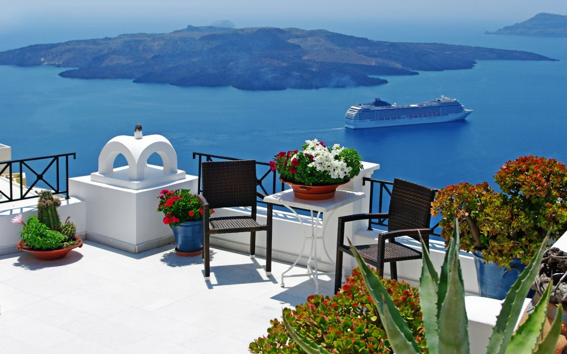 greece balcony architecture buildings flowers plants furniture view scenic panoramic island water ocean sea vehicles ships boat cruise photography place tropical wallpaper