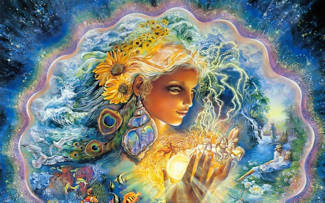 josephine wall fantasy god goddess artistic face colors psychedelic sci fi science flowers emotion mood magical people women female girl  wallpaper