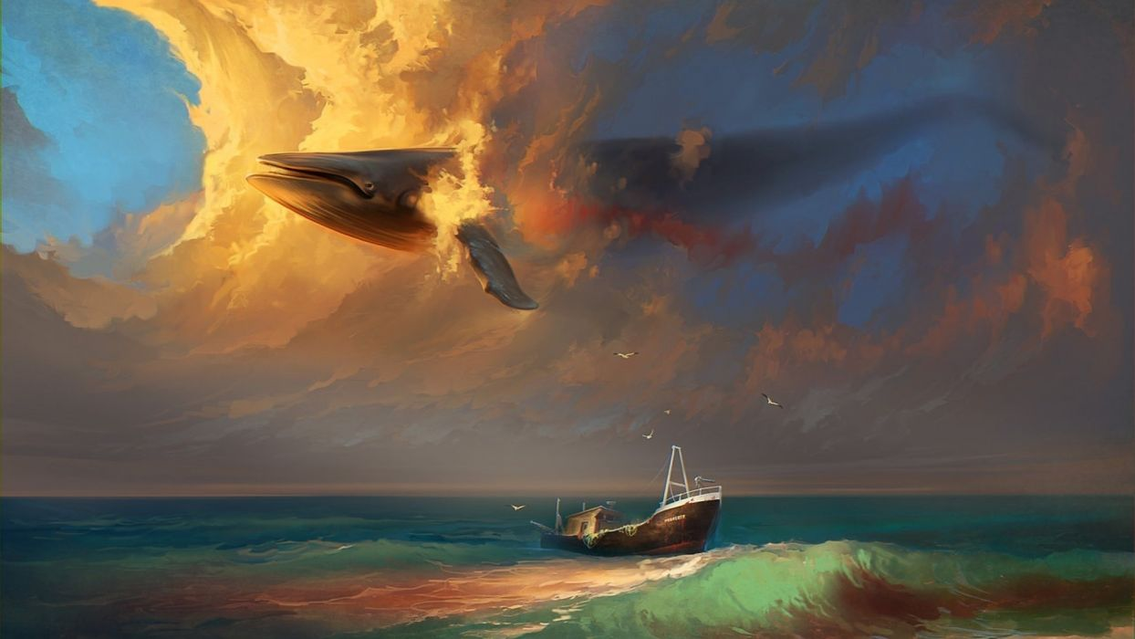 RHADS fantasy mood emotion sorrow sad whales animals painting artistic art sky clouds cg digital shipwreck wreck ruins vehicles ships boats ocean sea beaches surreal dream wallpaper
