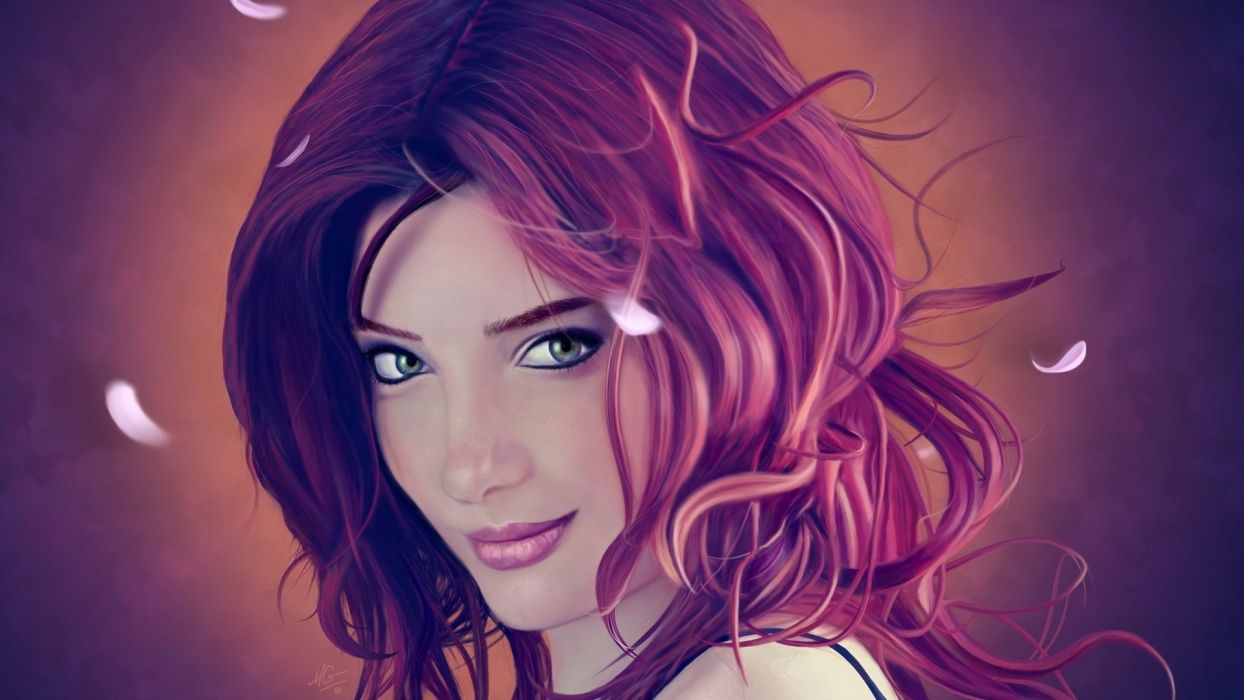 susan coffey cg digital painting redhead hair face eyes lips portrait feathers mood women female girl babe sensual model artistic art wallpaper