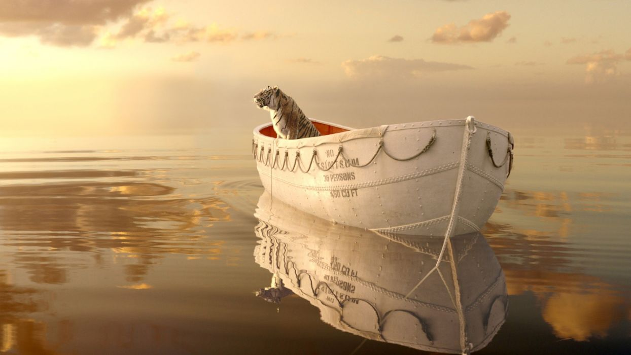 animals cats tiger water ocean sea reflection sky clouds boats vehicle rope mood surreal manipulation cg digital scenic wierd psychedelic wallpaper