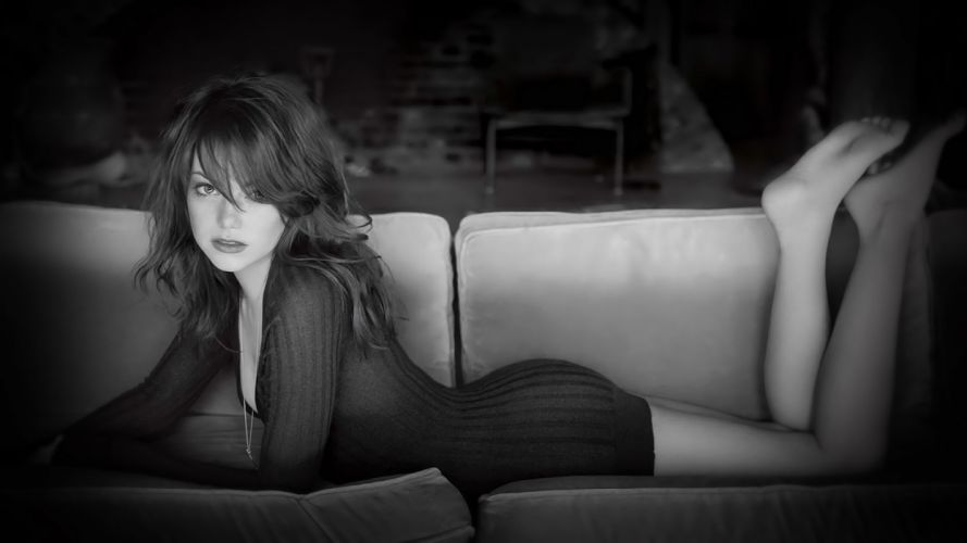 emma stone actress celebrities brunette couch furniture dress legs face eyes lops women female girl babes sexy sensual style wallpaper