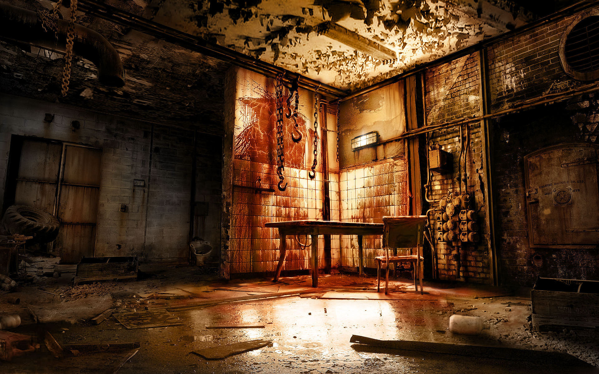 Alone in the dark horror scary creepy spooky blood room macabre reflection gross evil rust table - Hd room background images ...