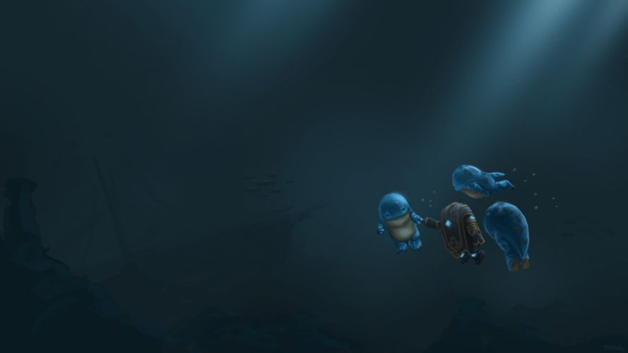 guild wars fantasy sci fi science robot underwater creatures humor funny friends artistic wallpaper