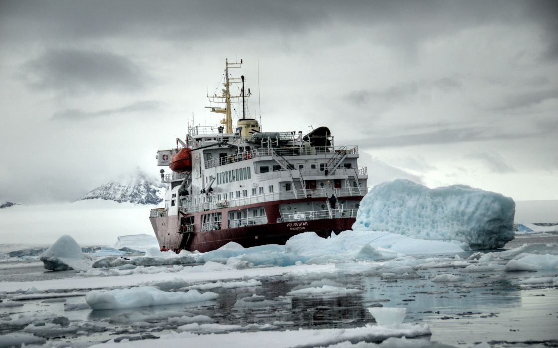 vehicles ships boats artic ice ocean sea water frozen cold iceberg landscapes mountains sky clouds winter situation wallpaper