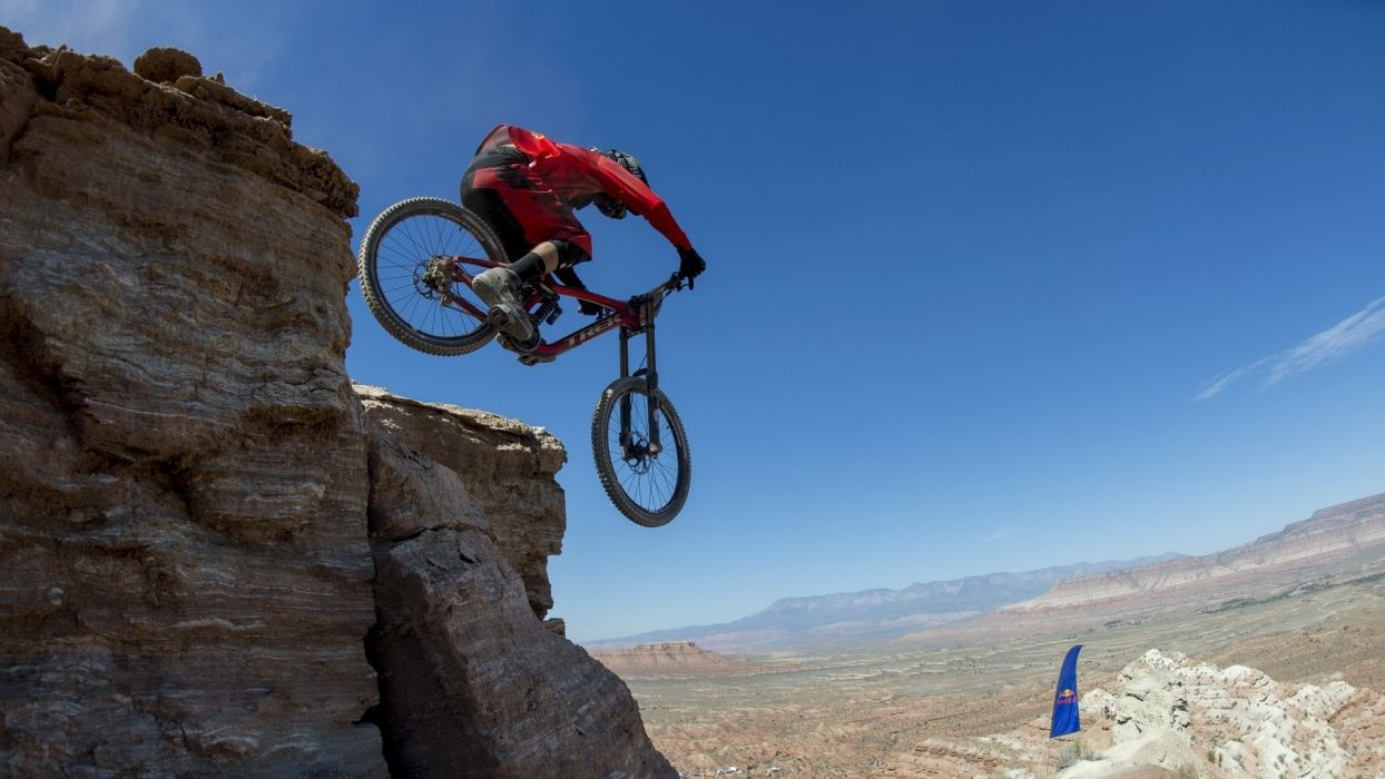 bicycles sports extreme red bull rampage mountain cliff landscapes nature racing crazy wallpaper