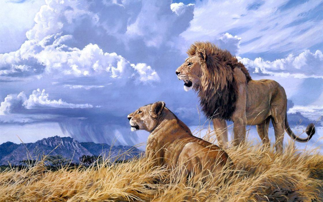 animals cats lion painting art landscape nature wildlife africa grass predator couple love sky clouds rain weather wallpaper