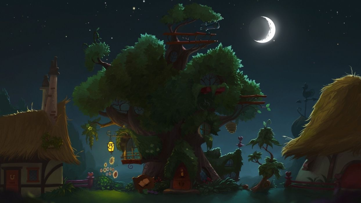 my little pony library fantasy anime trees architecture buildings house nauture art magical town village lights night moon stars sky wallpaper