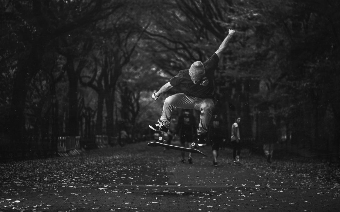 Skateboard Skateboarding Jump Stop Action BW wallpaper