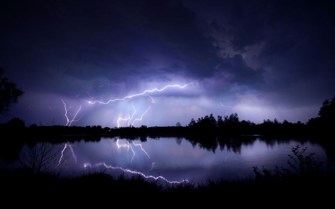 landscapes nature trees forest lakes reflection lightning rain storm night water contrast bright light scenic wallpaper