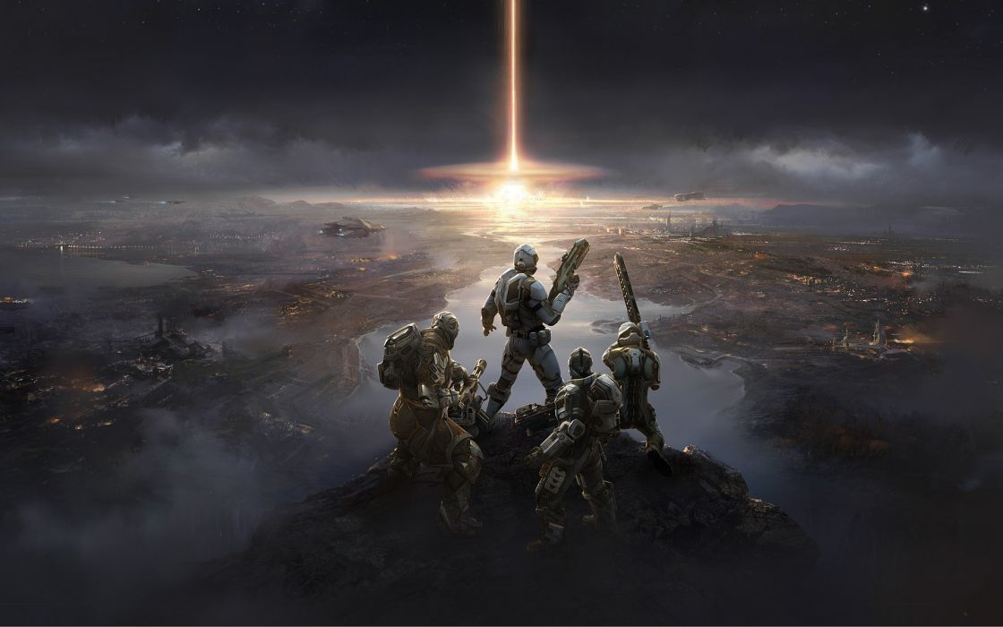 DUST 514 invasion warrior soldier people war battle destruction post apocalyptic fire flames cities architecture sky clouds wallpaper