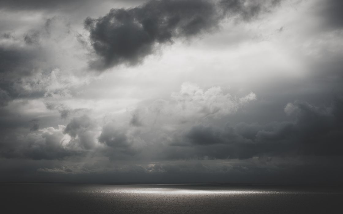 nature sea ocean water sunlight sunbeam sky clouds light scenic storm black white wallpaper
