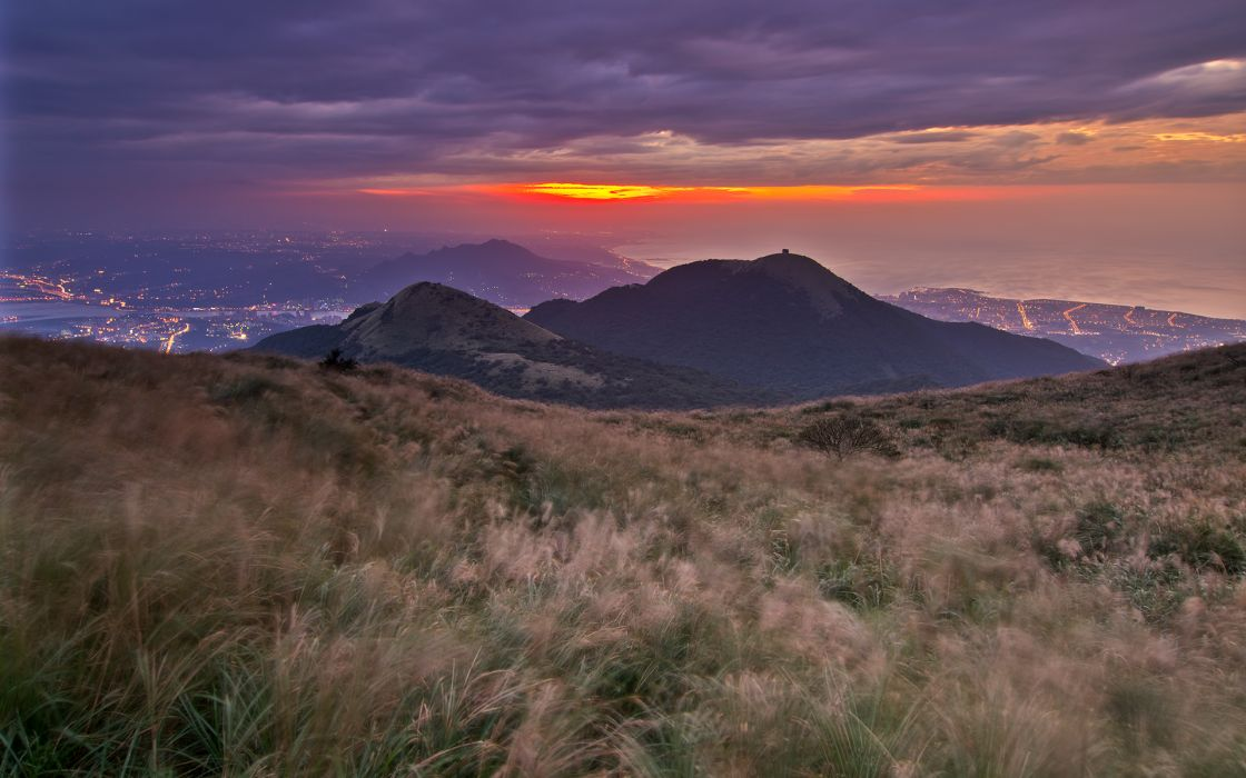 nautre landscapes mountains hills grass sunset sunrise night lights cities sky clouds scenic view wallpaper