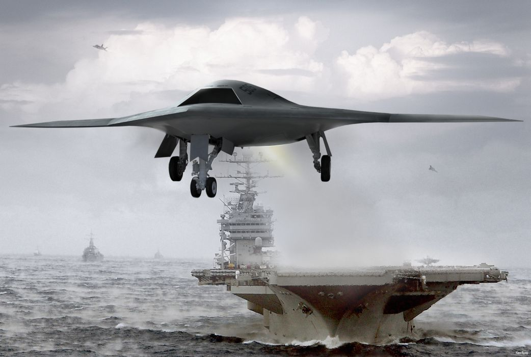 UAV X47B carrier ships boats vehicles military jet fighter ocean sea sky clouds waves wallpaper
