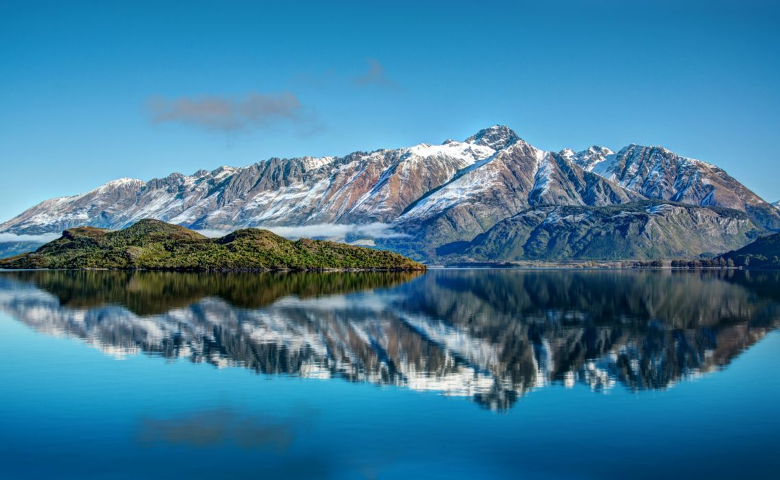 nature landscapes islands mountains snow lake reflection water trees forests scenic wallpaper