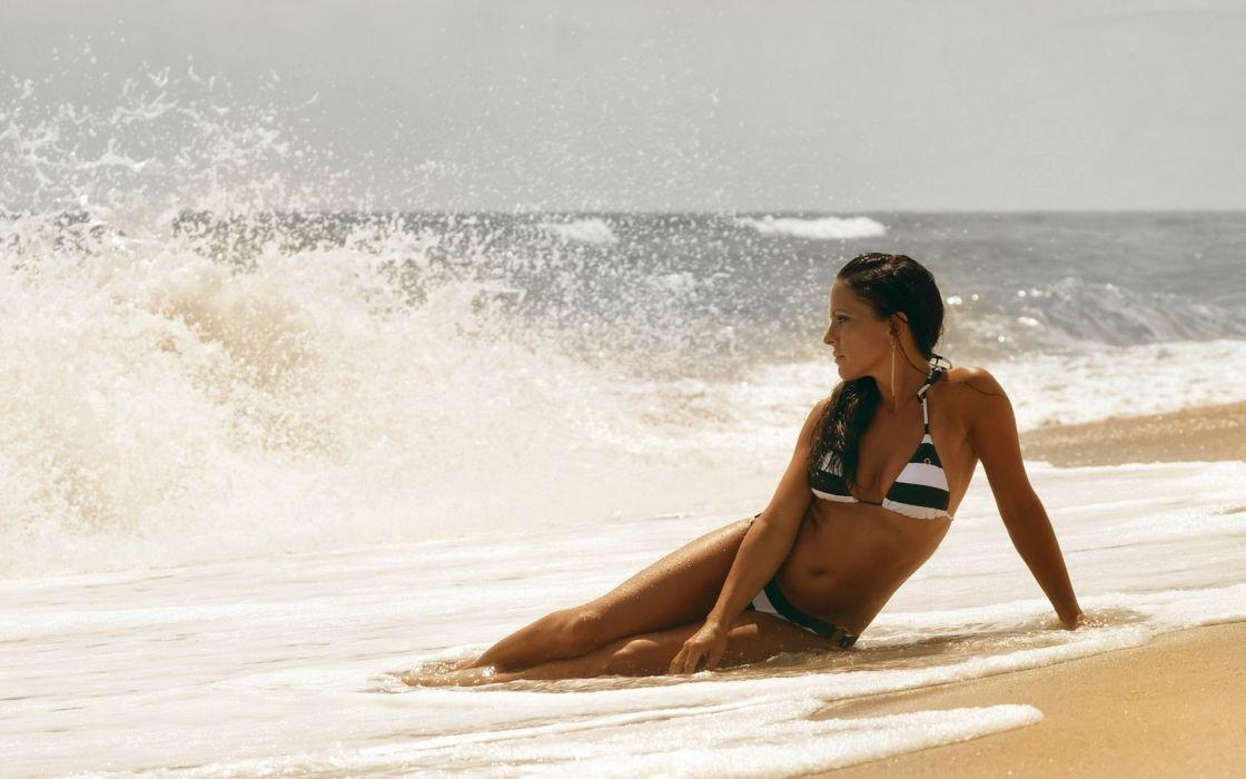 bikini mood model sexy sensual babes women female girl babes swim waves ocean sea beaches sand pose spray drops sky fashion wallpaper