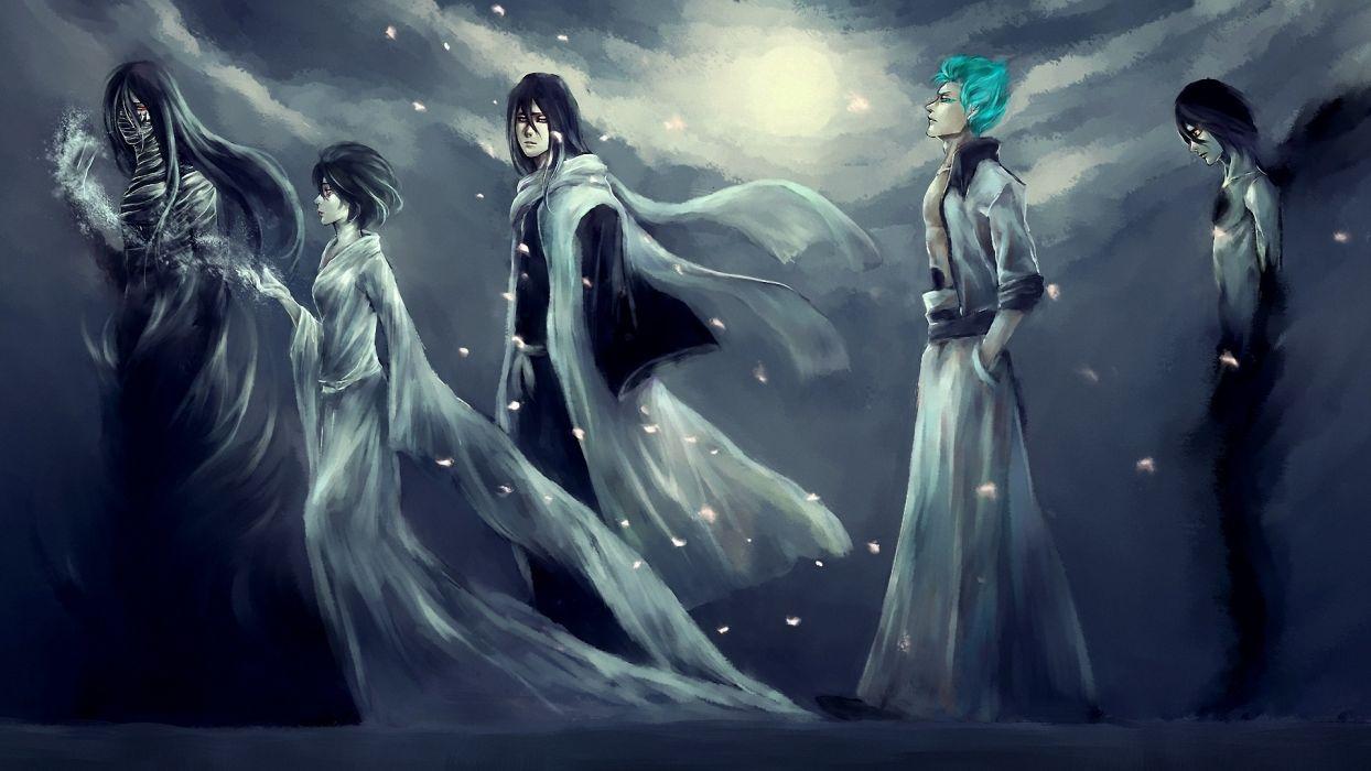 bleach anime manga people dark men women males girls female moon sky clouds magic wallpaper