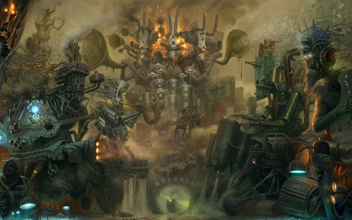 sci fi steam punk cyber artistic science mechanical detail psychedelic dark creepy spooky mech tech place fantasy monsters creatures robots cyborg cities cg digital painting vehicles cars futuristic wallpaper