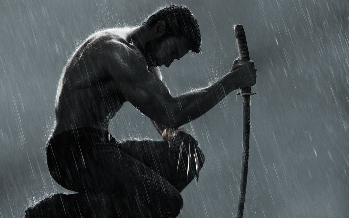 The-Wolverine Wolverine jackman crowe hugh comics games movies heroes rain storm dark weapon sword katana pose muscle knife blade mood emotion sad sorrow wallpaper