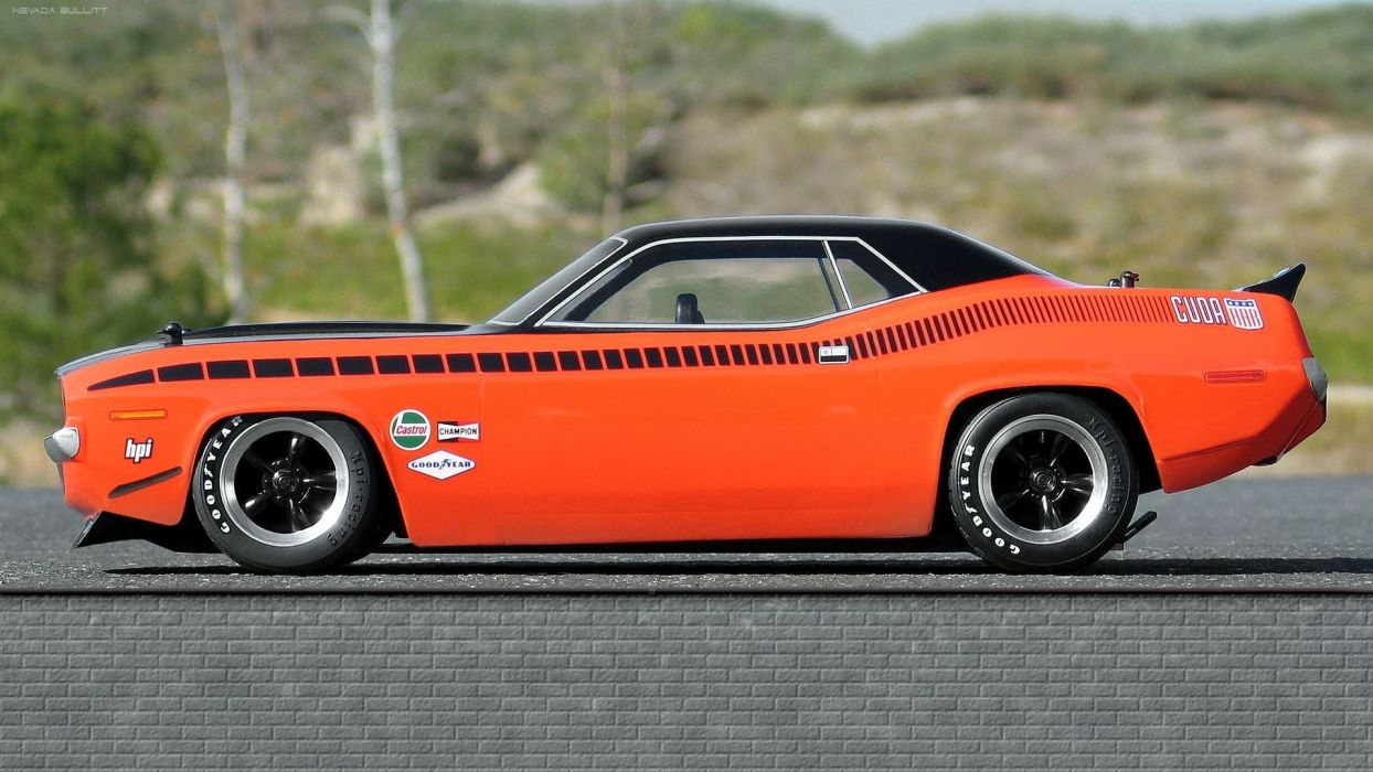 plymouth barracuda classic old retro muscle vehicles cars orange wheels stance rod wallpaper