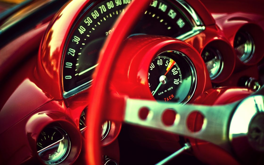 vehicles cars chevy chevrolet corvette old retro classic red colors contrast numbers wheels gauge glass interior close up macro muscle wallpaper