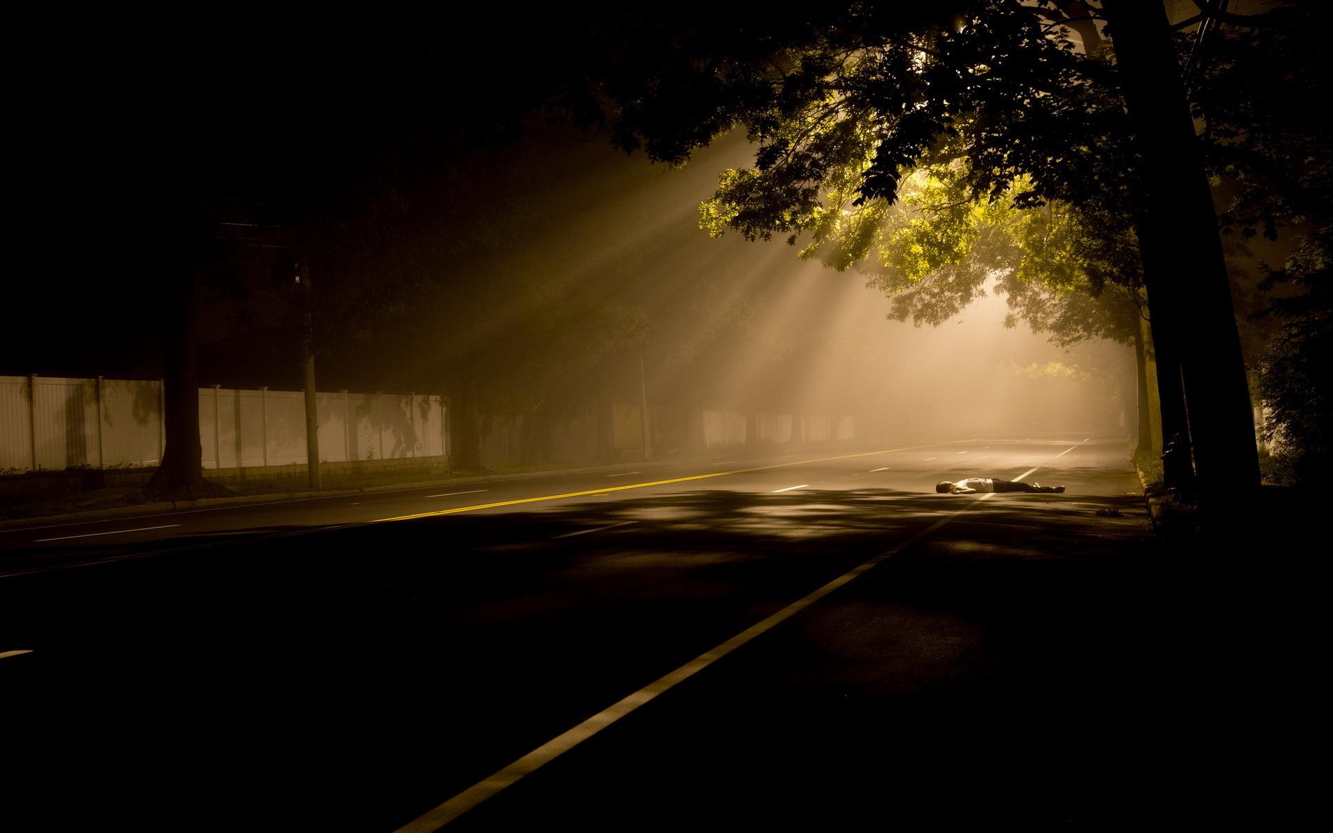 Франция дороги ночь фонари  № 2229257 бесплатно