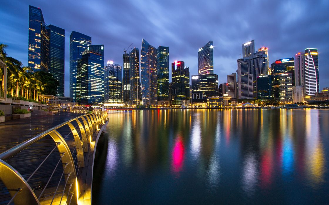 Singapore cityscape cities architecture buildings skyscraper water harbor marina fence rail sidewalk path night lights hdr reflection sky clouds photography Hong Kong wallpaper