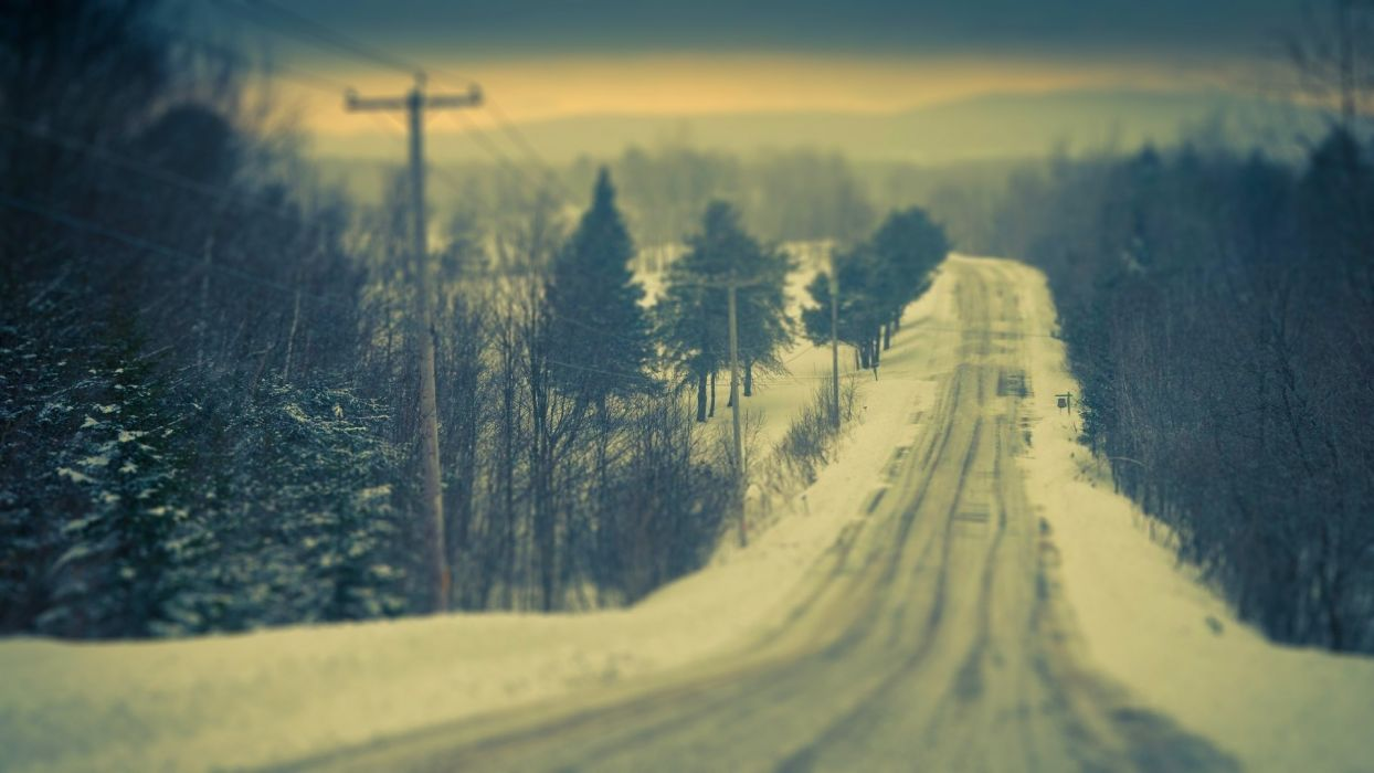 landscapes roads nature winter snow tilt shift photography snow trees forest pole wire line mountains scenic sky wallpaper
