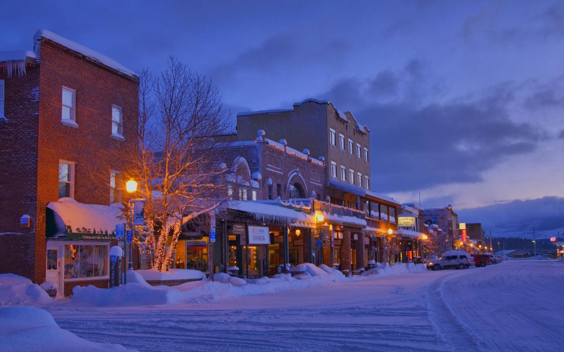 landscapes architecture buildings store town winter snow seasons place vehicles cars night lights hdr photography roads sky clouds sunset sunrise window lamp street wallpaper