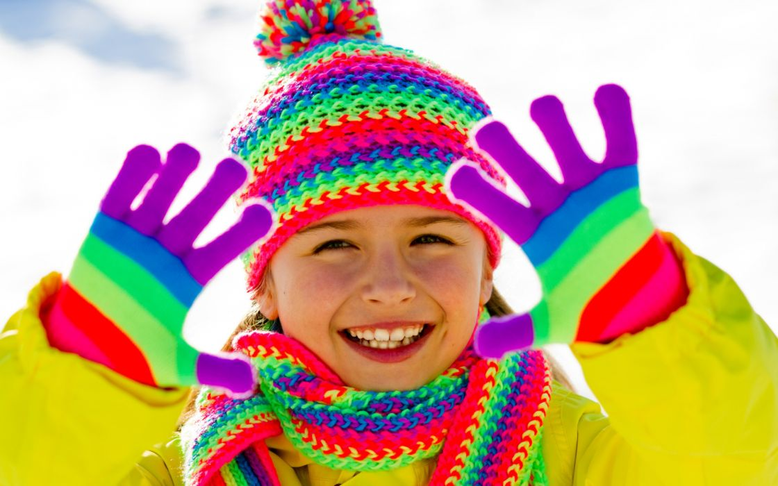 photography children child female girl colors face eyes winter snow seasons mood happy smile cute wallpaper