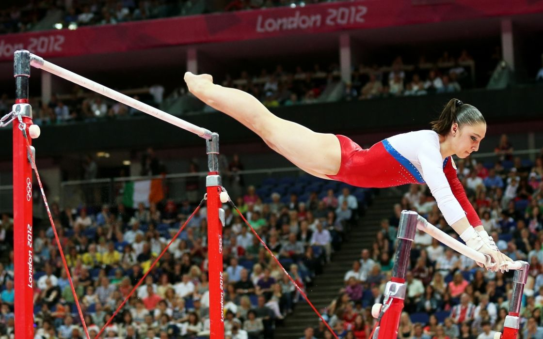 Aliya Mustafina athlete gymnast Olympic Games sports babes sexy sensual legs bars crowd stadium people women females girls colors style wallpaper