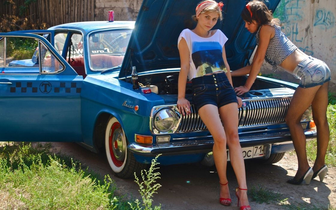 Volga GAZ taxi cars vehicles blue tuning grill lights glass chrome shine wheels legs butt sexy sensual babes models adult porn russia women female girl blonde brunette pose look stare wallpaper