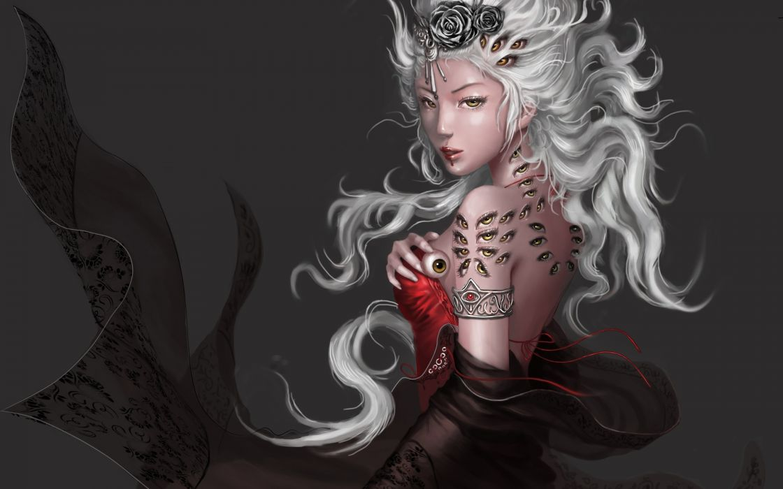fantasy god goddess cg digital dress gown jewelry hair face asian oriental eyes occult art creepy spooky evil demon dark women female girl sexy sensual babes wallpaper