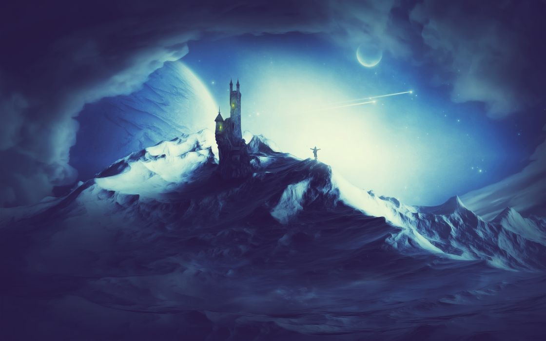 anime fantasy landscapes dark mountains night moon moonlight art artistic sky clouds planets sci fi architecture buildings castles people magic adventure paintings snow winter sesons cold mood emotion wallpaper