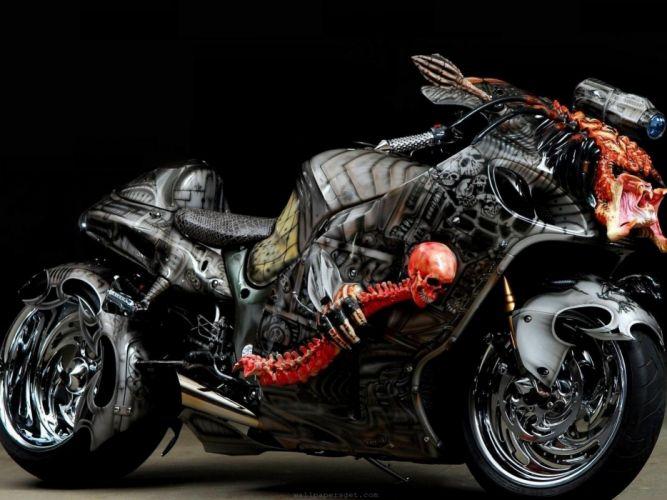 crazy suzuki hayabusa tuning motorbikes 2560 1920 wallpaper Vehicles Motorcycles HD skull wheels chrome skeleton dark scary colors stance custom wallpaper