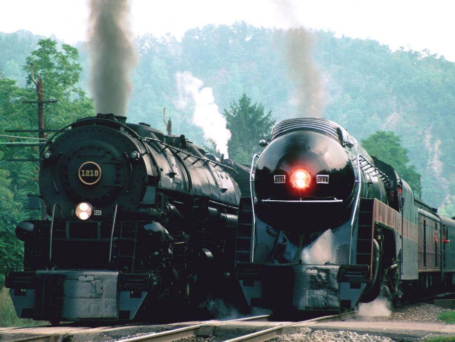 trains railroad tracks steam engine vehicle locomotive smoke retro old classic modern lights steel metal trees hills sky motion wallpaper