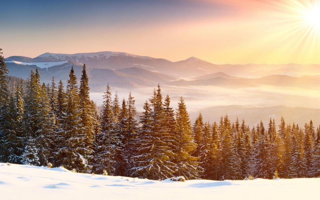 nature landscapes mountains winter snow seasons fog mist haze sunset sunrise sunlight sun colors bright sky scenic trees forest meadow wallpaper