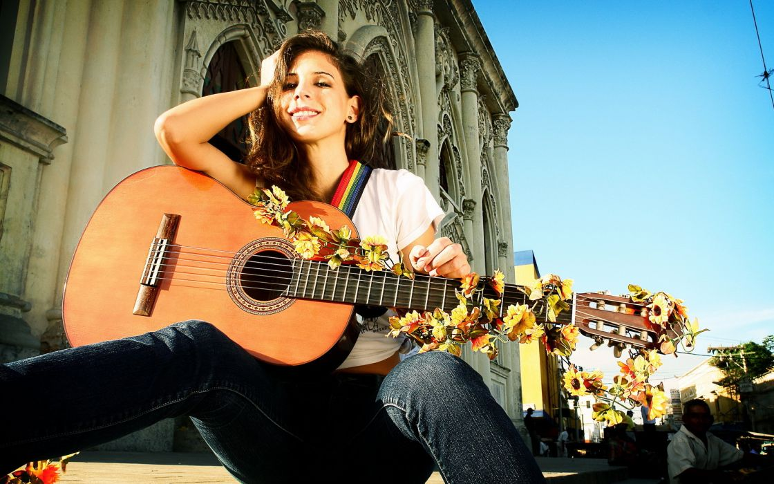 entertainment music guitars strings bridge musical sky architecture buildings roads street pose sexy sensual babes brunette faces eyes lips mood emotion happy smile women females girls wallpaper