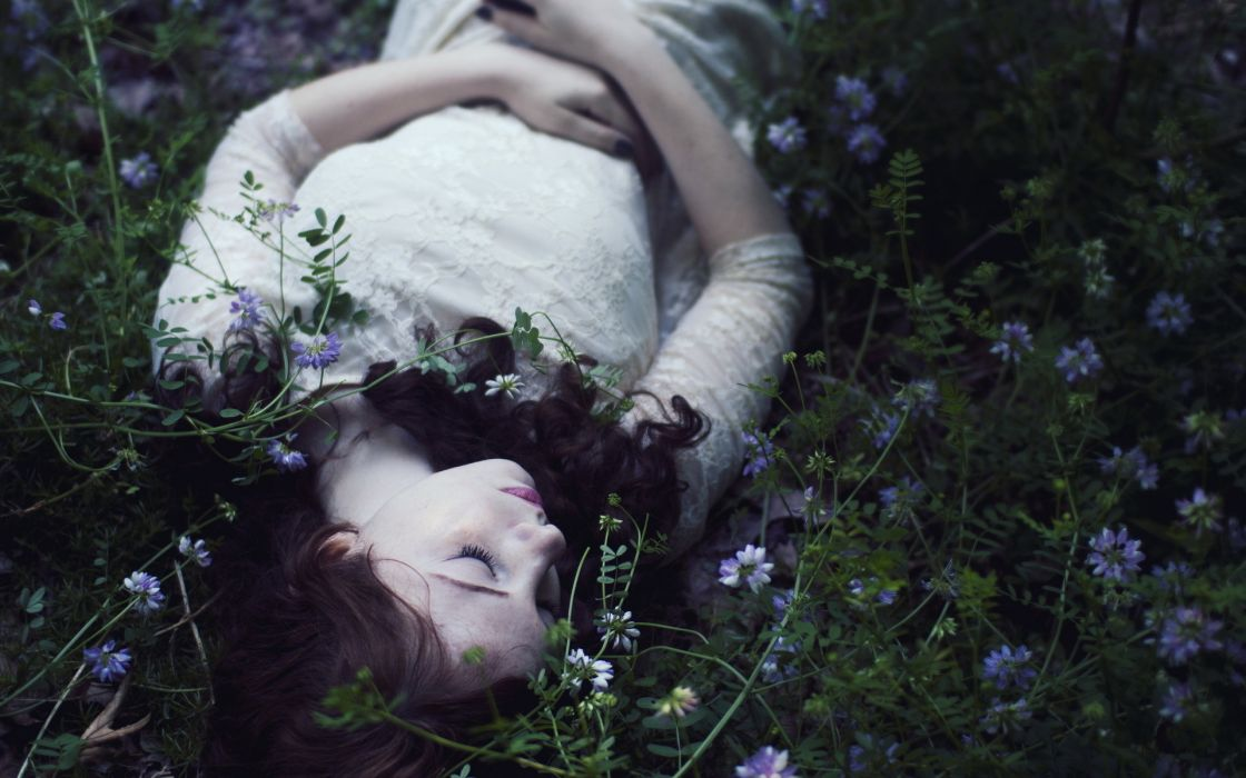 landscapes fields plants flowers pose mood emotion dress gown sensual babes pale brunette model style women females girls people gothic wallpaper