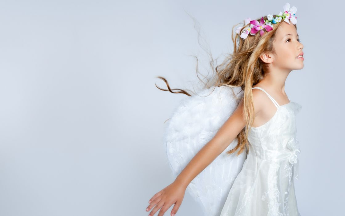 children uniform costume silk wings angels fantasy flowers females girls pose cute blondes face eyes style wallpaper