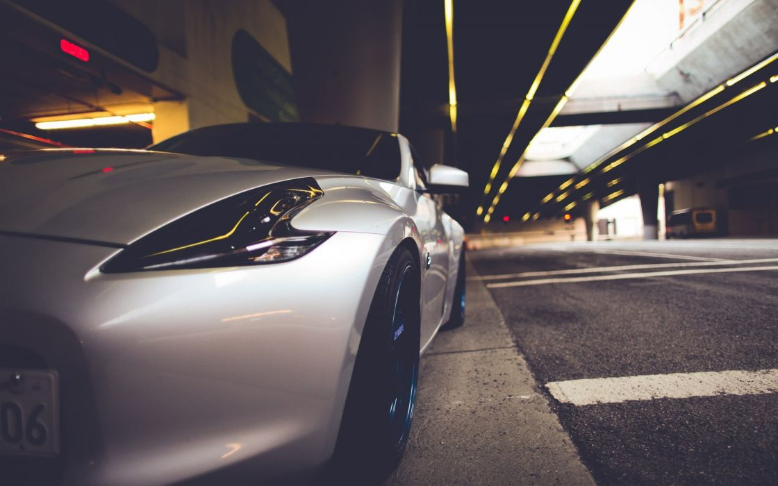 nissan 350z vehicles cars tuning wheels rims tires close up roads street tunnel architecture buildings stance lights wallpaper