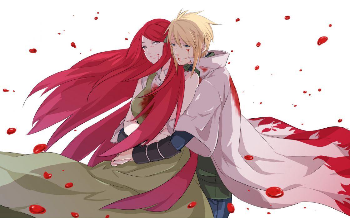 naruto shippuuden love romance blood petals dark friends art girls kimono asian oriental redhead blonde men male boy wallpaper