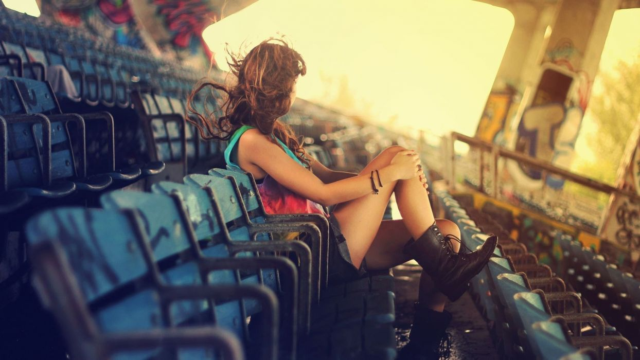 ruins derelict decay urban graffiti seats chairs stadium hall rooms fence rail architecture buildings light sunlight women female girls babes models sexy sensual style legs boots brunette pose mood emotion wallpaper