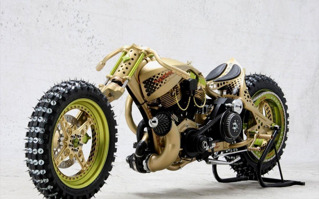 vehicles motorbikes turbocharged engine wheels tires spokes racing custom chopper sled ice wallpaper