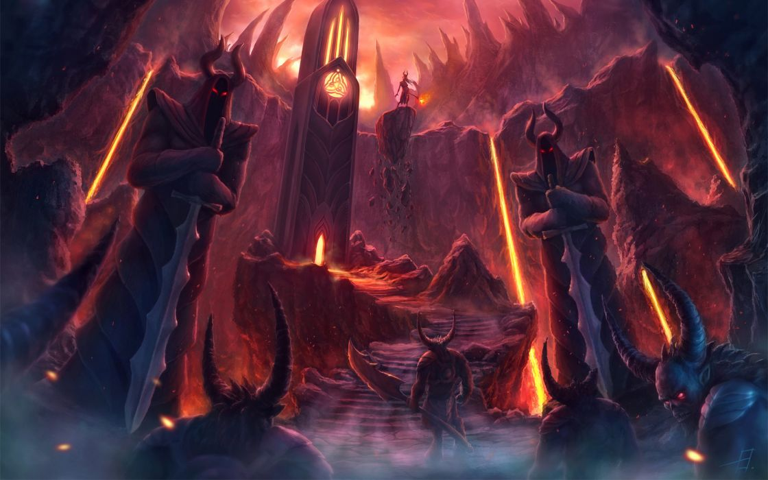 dark demons hell fire flames creature monsters fantasy weapons sword trdent occult satan satanic devil lava art spooky architecture cathedral door colors wallpaper