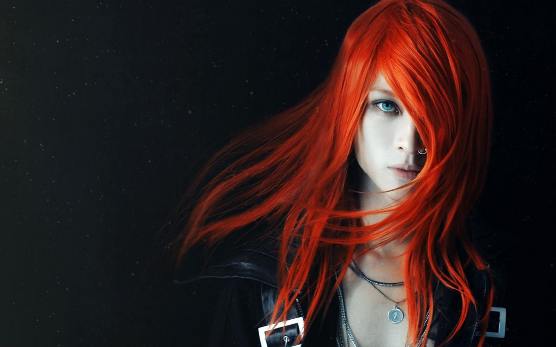 colors color splash selective cg digital redhead face eyes lips hair bright contrast urban gothic style emo jewelry ring models sensual babes women females girls look stare pale people wallpaper