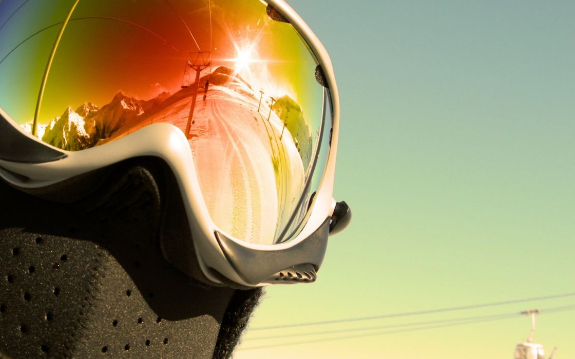 sports mask goggles mask reflection glasses sunglasses color shine landscapes people snow mountains ski snowboarding wallpaper