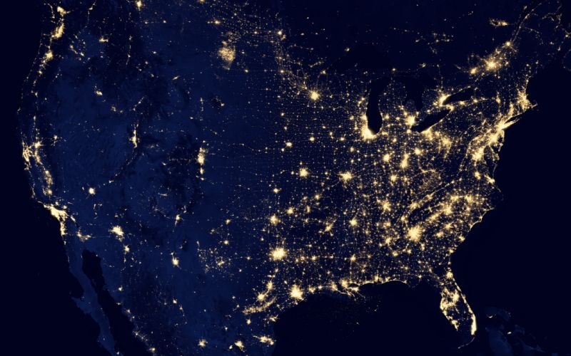 grid map usa united states power electricity night lights space america cities populations places states earth ocean sea photography nasa planets sci fi science wallpaper