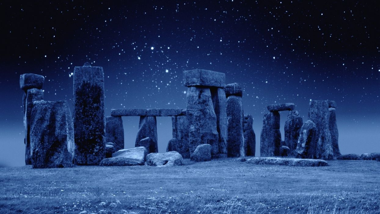 Stonehenge Stone Circle England uk Dillon print photography artifacts legend mythical mystical religion prehistoric monument Wiltshire standing earthworks Neolithic Bronze Age dark sky stars night landscapes nature grass field manipulation rocks ruins arc wallpaper